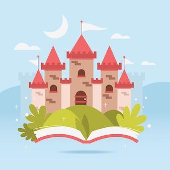 Conceito de castelo de conto de fadas com livro
