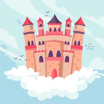 Conceito de castelo de conto de fadas de fantasia