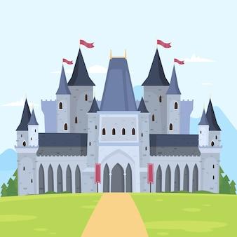 Conceito de castelo de conto de fadas