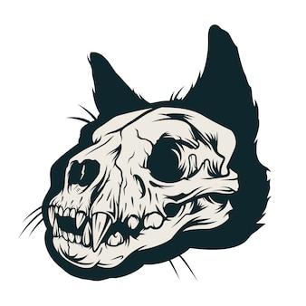 Conceito de caveira gato vintage