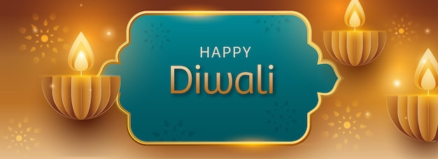 Conceito de celebração de diwali feliz com lâmpadas de óleo aceso corte de papel (diya) em fundo dourado e turquesa.