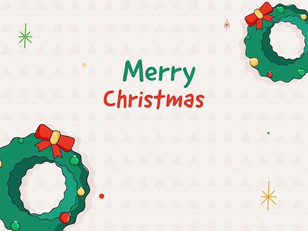 Conceito de celebração de feliz natal com coroa de flores no fundo branco padrão de árvore de natal.