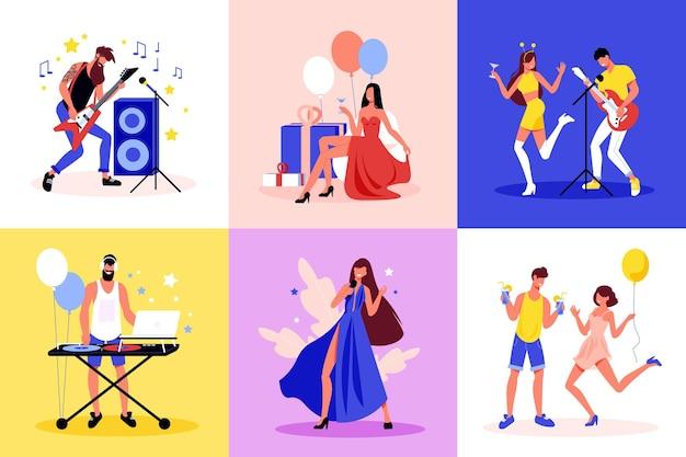 Conceito de celebração de festa 6 composições coloridas planas com decorações de balões dançantes cantando guitarra elétrica