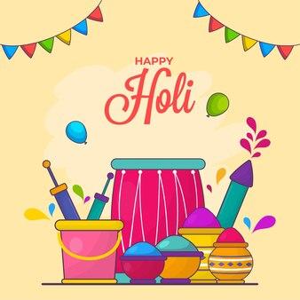 Conceito de celebração de holi feliz com elementos de festival em fundo amarelo.