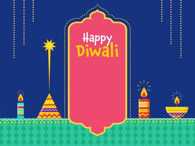 Conceito de celebração diwali feliz com velas acesas, lâmpada de óleo (diya) e foguete anar sobre fundo azul e verde.