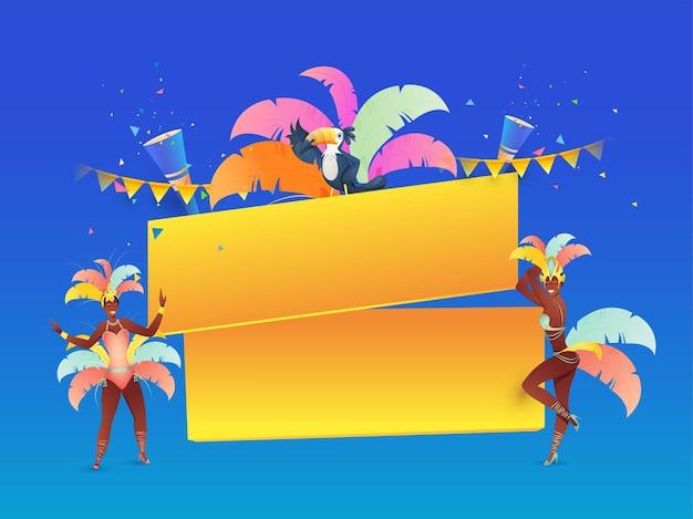 Conceito de celebração do carnaval do brasil com personagem de dançarina de samba, instrumentos de bateria, popper de festa e pássaro tucano
