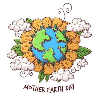 Conceito de celebração do dia da mãe terra desenhados à mão