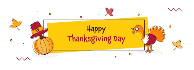 Conceito de celebração do dia de ação de graças feliz com cartoon turquia pássaro, chapéu de peregrino, abóbora em fundo amarelo e branco.