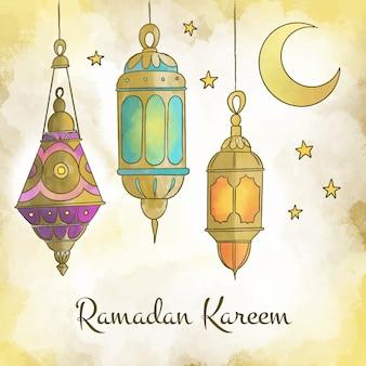 Conceito de celebração do ramadã em aquarela