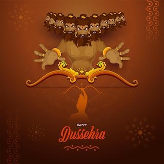 Conceito de celebração dussehra feliz com demônio ravana morto pelo senhor rama em fundo marrom.