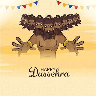 Conceito de celebração dussehra feliz com personagem demônio ravana em pose de ataque sobre fundo amarelo pastel.