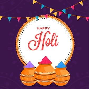 Conceito de celebração feliz holi com pó (gulal) em potes de lama