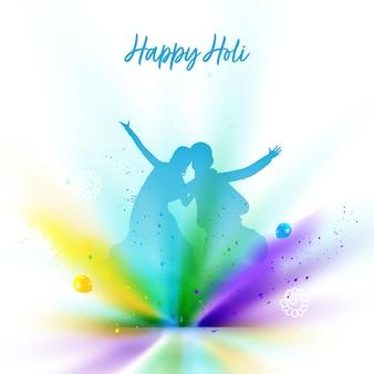 Conceito de celebração feliz holi com silhueta de casal e explosão de cores