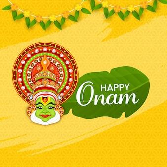 Conceito de celebração onam feliz com cara de dançarina de kathakali e toran tradicional em fundo amarelo padrão floral.