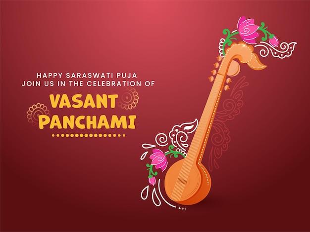 Conceito de celebração vasant panchami feliz com instrumento veena e floral