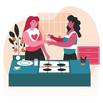 Conceito de cena de casais de lésbicas multirraciais homossexuais diversos. mulheres cozinhando na cozinha juntas. família, relacionamento amoroso, atividades pessoais. ilustração em vetor de personagens em design plano