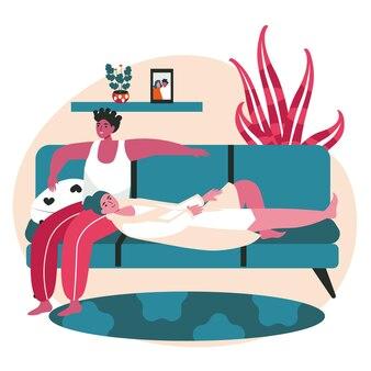 Conceito de cena de casais de lésbicas multirraciais homossexuais diversos. mulheres relaxando no sofá juntas. família, relacionamento amoroso, atividades pessoais. ilustração em vetor de personagens em design plano