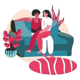 Conceito de cena de casais de lésbicas multirraciais homossexuais diversos. mulheres se abraçando enquanto estão sentadas no sofá. família, relacionamento amoroso, atividades pessoais. ilustração em vetor de personagens em design plano