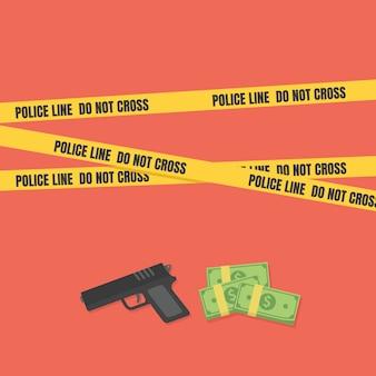 Conceito de cena de crime com uma arma e dinheiro