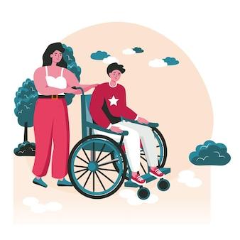 Conceito de cena de pessoas com deficiência. mulher carrega homem deficiente em cadeira de rodas. acessibilidade e reabilitação de inválidos, atividades de pessoas. ilustração em vetor de personagens em design plano