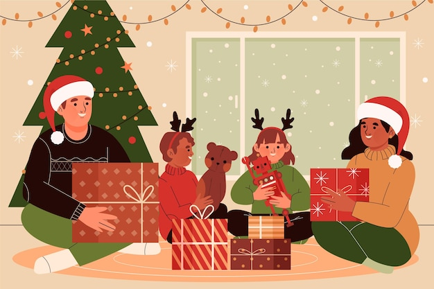Conceito de cena de presentes de natal