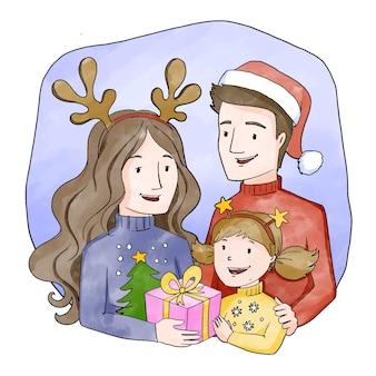 Conceito de cena familiar de natal em aquarela