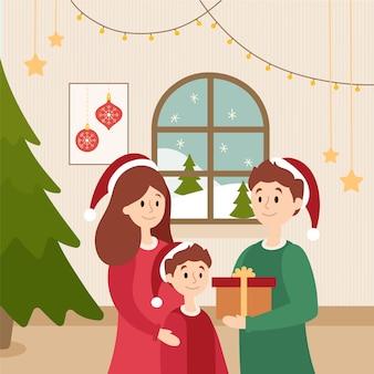 Conceito de cena familiar de natal em design plano