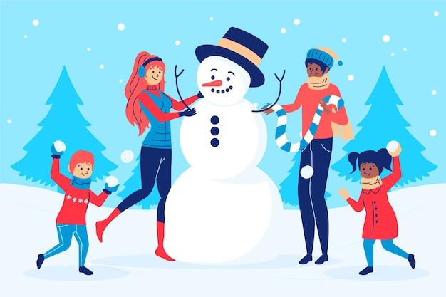 Conceito de cena familiar de natal na mão desenhada