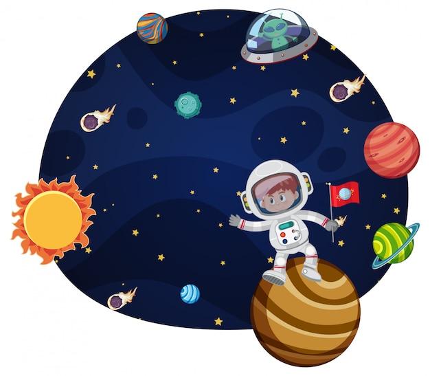 Conceito de cena jovem astronauta