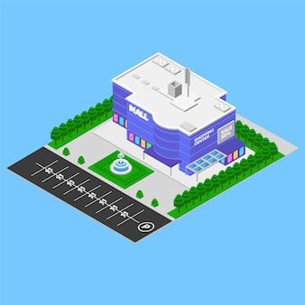 Conceito de centro comercial isométrico