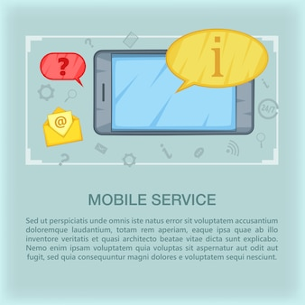 Conceito de centro de chamada móvel, estilo cartoon