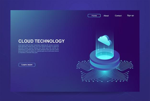 Conceito de centro de processamento de big data, banco de dados em nuvem, estação de energia do servidor do futuro. tecnologias de informação digital.