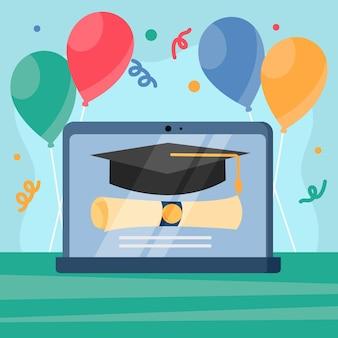 Conceito de cerimônia de graduação virtual