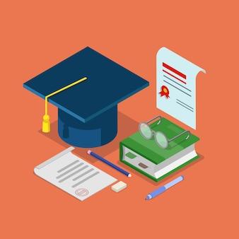 Conceito de certificado de diploma de graduação de educação plana isométrica