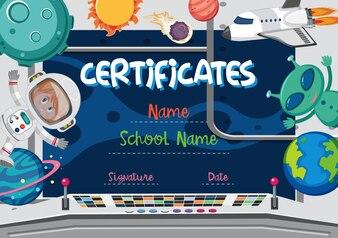 Conceito de certificado de tema espaço