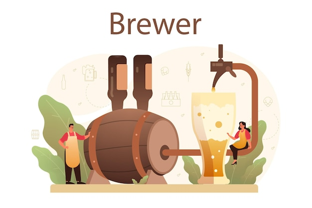 Conceito de cervejaria. produção de cerveja artesanal, processo de fermentação. esboço, projeto
