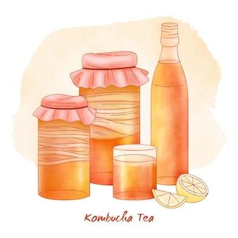 Conceito de chá de kombuchá em aquarela