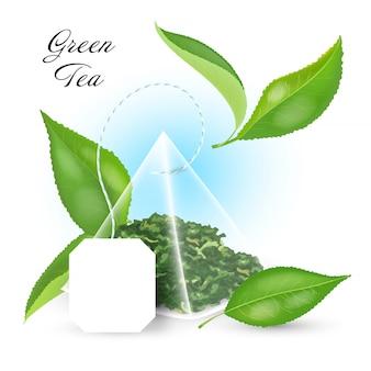 Conceito de chá preto com saquinho de chá piramidal e folhas realistas. ilustração.