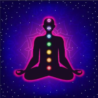 Conceito de chakras com corpo e pontos focais