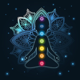 Conceito de chakras com mandala e pontos focais