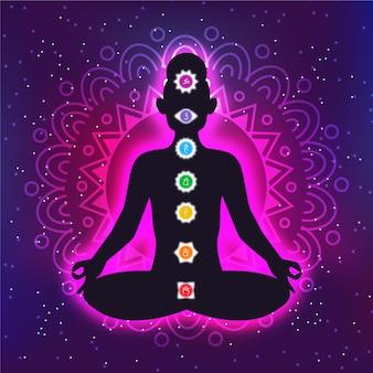 Conceito de chakras com pontos focais