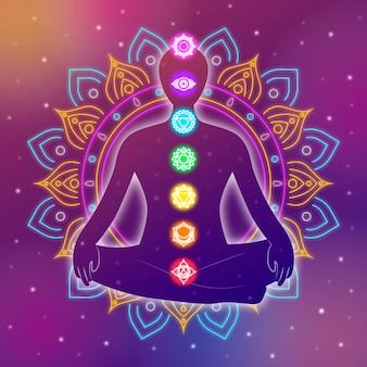 Conceito de chakras do corpo abstrato design flor