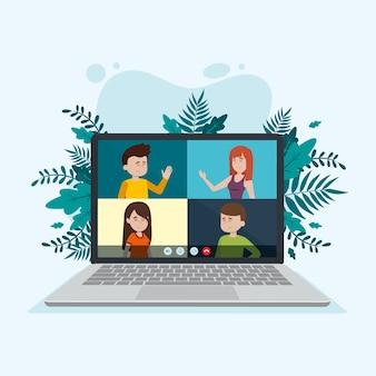 Conceito de chamada de vídeo com laptop