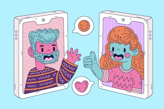 Conceito de chamada de vídeo com pessoas coloridas
