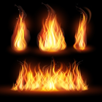 Conceito de chamas de fogo realista