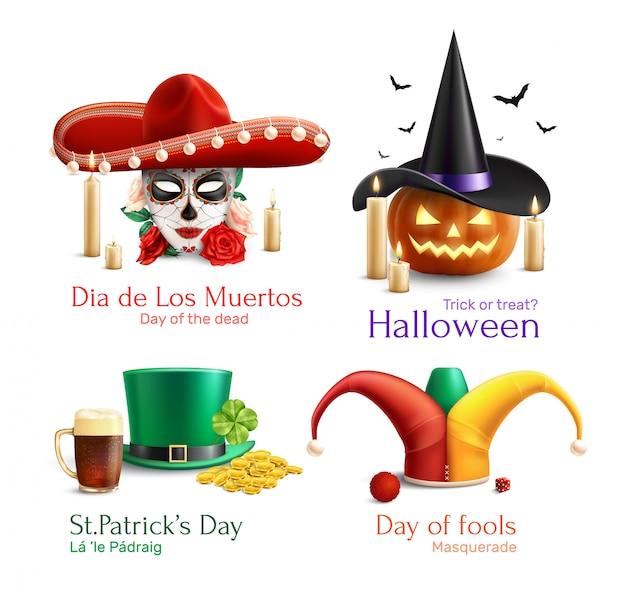 Conceito de chapéus 2x2 de disfarce com o dia do dia morto dos tolos halloween dia de são patrício quadrados ícones realistas