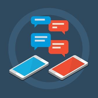 Conceito de chat móvel, conceito de rede social. ilustração de design plano.