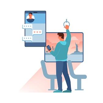 Conceito de chat online. homem envia mensagem na internet. comunicação por rede no smartphone.
