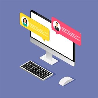 Conceito de chat online. monitor de computador isométrico com caixas de diálogo. design moderno de bolhas de mensagens.