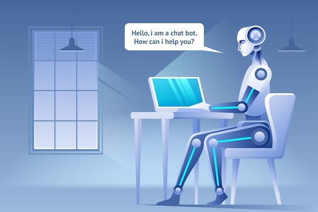Conceito de chatbot assistência virtual de website ou aplicativos móveis conceito de inteligência artificial